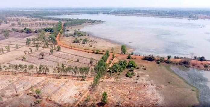บริเวณก่อสร้างแก้มลิงหนองโนนต่าย (มุมสูง)