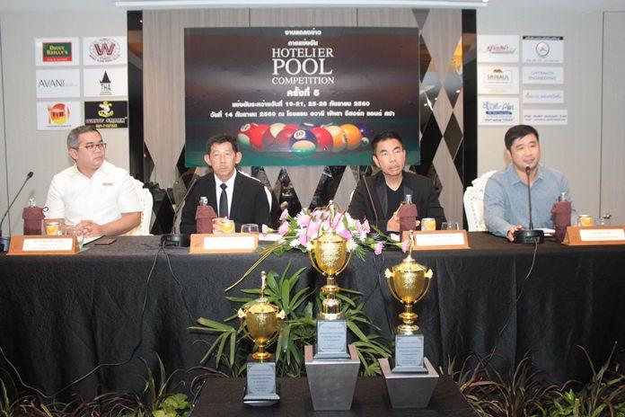 พล.ต.ต.อนันต์ เจริญชาศรี นายกเมืองพัทยาเป็นประธาน แถลงข่าวการแข่งขัน Hotelier Pool Tournament ครั้งที่ 5 พร้อมด้วยตัวแทนจากภาคส่วนชมรมนักบริหารงานอาหารและเครื่องดื่มมืออาชีพเมืองพัทยา เข้าร่วมในพิธี