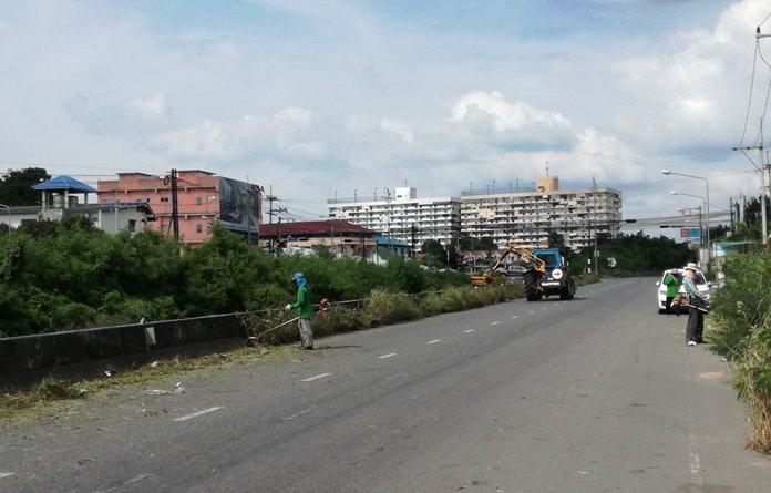 ฝ่ายสวนสาธารณะ สำนักสิ่งแวดล้อม เมืองพัทยา  ลงพื้นที่ดำเนินการปรับภูมิทัศน์ บริเวณถนนเรียบทางรถไฟซอยเขาน้อยถึงเขาตาโล
