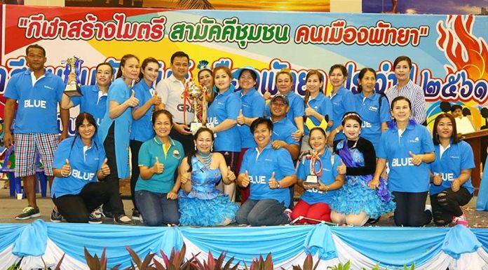 ประเภทถ้วยรวมกีฬา ชนะเลิศ ได้แก่ สีน้ำเงิน นำทีมโดยชุมชนชัยพรวิถี, ชุมชนต้นกระบก, ชุมชนพัทยาเหนือ, ชุมชนหนองใหญ่ และชุมชนเพนียดช้าง