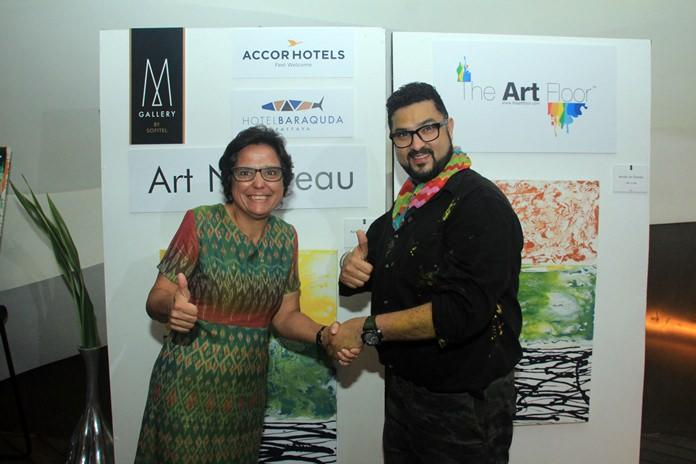 (จากซ้ายไปขวา)  มิส มากาเร็ต เก็นเกอร์ ผอ.มูลนิธิ Hand to Hand Foundation  Mr.Dashmeet Singh CEO ผู้ก่อตั้ง The Art Floor ศิลปินชาวอินเดีย และประธานการจัดงาน
