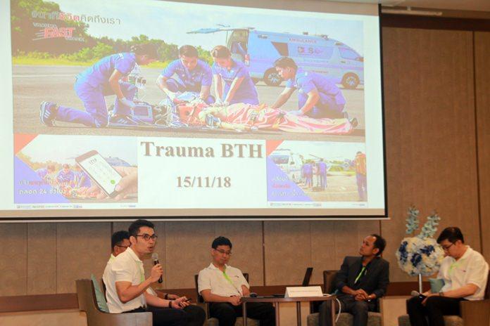 """ทีม BDMS Eastern trauma network  บรรยายเรื่อง """"Trauma fast track in BDMS Eastern trauma network""""การช่วยเหลือผู้ได้รับบาดเจ็บเพื่อลดการสูญเสียชีวิต"""