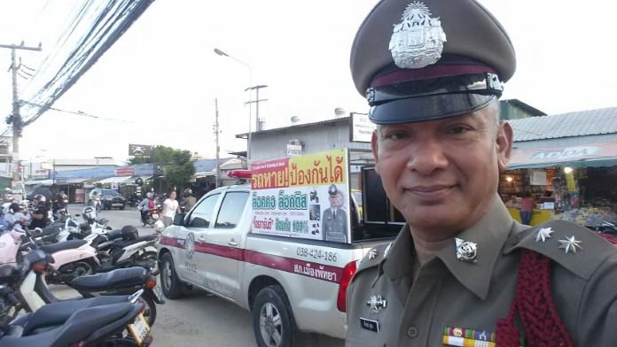 ตำรวจพัทยา ลงพื้นที่ประชาสัมพันธ์รณรงค์ล๊อคคอ ป้องกันรถหาย